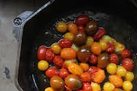Bite-size tomatoes are best for cast iron.((Coryanne Ettiene))