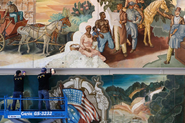 See why it took forklifts and drills to dismantle the for Dallas mural artists