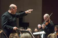 "With Jaap Van Zweden conducting, Violinist Alexander Kerr performed Sergei Prokofiev's ""Concerto No.1 in D major for Violin and Orchestra, Op. 19"" with the Dallas Symphony Orchestra on Thursday.   (Rex C. Curry/Special Contributor)"