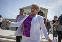 Amy Hagstrom Miller, founder of Whole Woman's Health, a Texas women's health clinic that provides abortions, rejoices as she leaves the Supreme Court in Washington, Monday, June 27, 2016, as the justices struck down the strict Texas anti-abortion restriction law known as HB2. The justices voted 5-3 in favor of Texas clinics that had argued the regulations were a thinly veiled attempt to make it harder for women to get an abortion in the nation's second-most populous state. The case is Whole Woman's Health v. Hellerstedt. (AP Photo/J. Scott Applewhite)(AP)