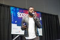 """Baratunde Thurston, a futurist comedian and activist leads a session called """"Head Fakes and Pivots: Trump Punks Silicon Valley"""" at the 2017 SXSW Conference Austin, Texas on March 15, 2017. Thurston takes the tech industry to task for contributing to the current environment of fake news, social isolation, and political discord. (Julia Robinson/Special Contributor)Special Contributor"""