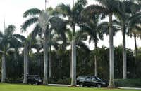 The motorcade carrying President Donald Trump at his Mar-a-Lago estate in Palm Beach, Fla. on Saturday.&nbsp;<div><br></div>((Mandel Ngan/Agence France-Presse))