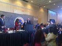 <p>Ghazala and Khizr Khan were the keynote speakers at a fundraiser for the Dallas-Fort Worth chapter of the Council on American-Islamic Relations, or CAIR, on Saturday night. (Dianne Solis/Staff)</p>