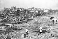 Galveston in the wake of the September 1900 storm. ((DMN file/AP) )