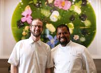 Mirador, the penthouse restaurant atop Forty Five Ten, features the cooking of executive chefs Josh Sutcliff (left) and Junior Borges.(Rose Baca/Staff Photographer)