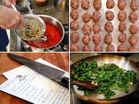 Clockwise from top left: Barsotti strains basil- and garlic-infused olive oil into tomato sauce; chick and pork belly meatballs; sauteing spinach; Barsotti's handwritten timpano recipe  (Tom Fox/Staff Photographer)