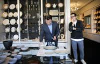 Executive chef Michael Ehlert and general manager of food and beverage operations Anthony Cournia (left) shop for tabletop pieces at Dahlgren Duck. (Tom Fox/The Dallas Morning News)