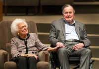 The Mensch International Foundation presented its annual Mensch Award to former President George H.W. Bush and former First Lady Barbara Bush at an awards ceremony hosted by Congregation Beth Israel on March 8 in Houston. ( Steve Gonzales/Houston Chronicle via AP(AP)