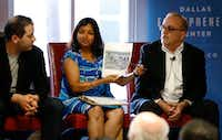 Sejal Desai (center), program director at Entrepreneurs of North Texas, discussed entrepreneurship on Tuesday with panelists including Mark Haidar (left), CEO of Vinli Inc., and  Doric Earle, founder of the Fair Park District Entrepreneur Center. (Vernon Bryant/Staff Photographer)