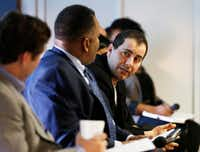Haidar (right) weighed in during Tuesday's panel discussion at the Dallas Entrepreneur Center. (Vernon Bryant/Staff Photographer)
