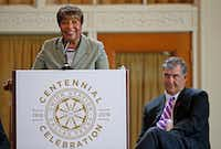 Congresswoman Eddie Bernice Johnson (left), with Mayor Mike Rawlings, spoke during the Union Station Centennial Celebration at Union Station's Grand Hall in Dallas in 2016. The Dallas City Council honored the mass transit supporter by renaming the station the Eddie Bernice Johnson Union Station. (Jae S. Lee/The Dallas Morning News)(Staff Photographer)