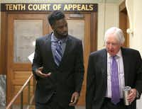 Sam Ukwuachu (left) appeared at the appeals court with his attorney, William Bratton III, last month. (Jerry Lawson./Waco Tribune-Herald)
