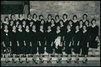 Carole DiSalvo is shown with her graduating class early in her career at American Airlines.