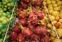 Dragon fruit at Jusgo Supermarket in Plano (Rose Baca/Staff Photogorapher)(Staff Photographer)