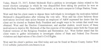 Statement issued by Robert McIntosh's attorney, Gaines West, in advance of a request to depose three individuals with knowledge about the student government elections at Texas A&M University.