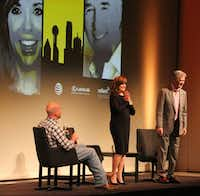 "The audience applauds Linda Gray and Patrick Duffy at ""A Dallas Retrospective: J.R. Ewing Bourbon Presents Linda Gray and Patrick Duffy,"" moderated by Robert Wilonsky, left, at the Winspear Opera House in Dallas on March 23. (Louis DeLuca/The Dallas Morning News)"
