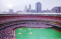 Riverfront Stadium in Cincinnati (above) and Three Rivers Stadium in Pittsburgh (below) bore a striking resemblance to one another on the inside.(AP file photo)