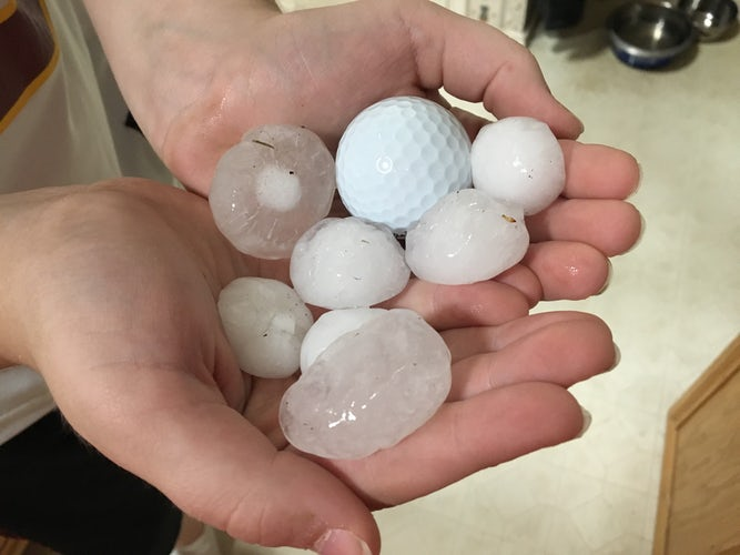 See Softball Size Hail Damage From Severe Weather In