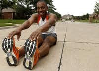 LaMar Fue of Murphy has more than 20 pairs of running shoes, which he likes to match with his favorite outfits when he runs.<div><br></div>(Rose Baca/Staff Photographer)