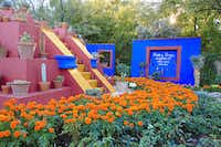 Sections of Frida Kahlo's Casa Azul home and gardens are re-created at the Tucson Botanical Gardens.((Paul Ross))