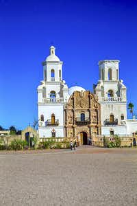 Mission San Xavier del Bac, called  the white dove of the desert,  outside Tucson.((Paul Ross))