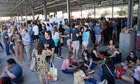 People gather during Morning After Brunch Festival at Dallas Farmers Market in Dallas. (Jae S. Lee/The Dallas Morning News)