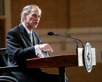 Texas Gov. Greg Abbott gives a State of the State address during a Dallas Regional Chamber meeting at Union Station in Dallas on Tuesday, March 28, 2017. (Rose Baca/The Dallas Morning News)(Staff Photographer)