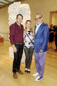 Alden Pinnell, Janelle Pinnell, Howard Rachofsky at the Giuseppe Penone Member and Patron Opening Event benefiting the Nasher Sculpture Center September 17, 2015 at the Nasher Sculpture Center. (Kristina Bowman/Special Contributor)