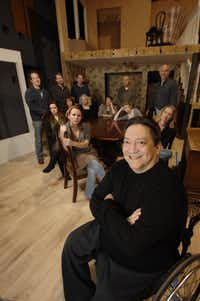 """Director Rene Moreno (front) with the cast before a rehearsal of Tracy Lett's Pulitzer Prize drama """"August: Osage County,"""" at Watertower Theatre in Addison, Texas on March 22, 2012.(Robert W. Hart/Special Contributor)"""
