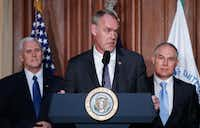 Interior Secretary Ryan Zinke speaks at EPA headquarters in Washington on Tuesday before President Trump signed an executive order unraveling Obama era regulations. (AP/Pablo Martinez Monsivais)