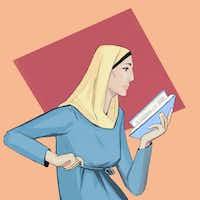 'Muslim Woman Reading' by artist Fahmida Azim
