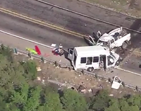 The collision happened on Highway 83, about 75 miles west of San Antonio.<br>(KSAT-TV)