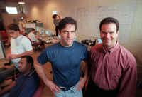 Mark Cuban  and Todd Wagner, shown in the early days of their partnership, sold Broadcast.com to Yahoo in 1999 for $5.7 billion. They're still friends and partners in several entertainment businesses.(DMN files)