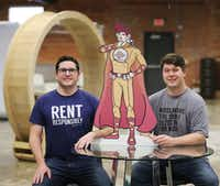Dave Krauss (left) and Andrew Schulz, the co-founders of NoiseAware, helped to create a device to provide noise protection for short term and vacation rental properties. (Andy Jacobsohn/Staff Photographer)