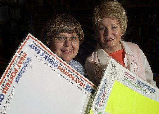 (From left) Mary Russell Sarao and Barbara Russell Pitts, inventors of Ghostline posterboard, are shown in 2003. The product hit stores in 1997. (DMN files)