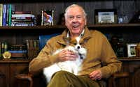 T. Boone Pickens, chairman and CEO of BP Capital, poses in his office with his dog, Murdock. (David Woo/The Dallas Morning News)(David Woo/The Dallas Morning News)