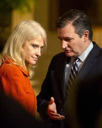 WASHINGTON, DC - MARCH 28: (AFP OUT) U.S. Sen. Ted Cruz (R-TX) (R) and Counselor to the President Kellyanne Conway (L) engage in conversation prior to the arrival of U.S. President Donald Trump at a reception for U.S. Senators and their spouses in the East Room of the White House on March 28, 2017 in Washington, DC. (Photo by Ron Sachs - Pool/Getty Images)(Getty Images)