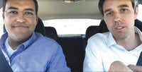 U.S. Reps. Will Hurd (left) and Beto O'Rourke drove from San Antonio to Washington, D.C., after Hurd's flight was canceled. They held a town hall via Facebook Live on the way.