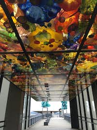 Tacoma's Bridge of Glass: Seaform Pavilion has more than 2,000 vividly colored glass pieces suspended in the ceiling.(Sharon McDonnell)