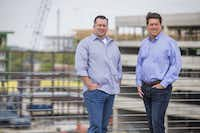 Randy DeWitt and Jack Gibbons of Front Burner restaurants, who are building a three-story food   hall in Legacy West on Wednesday, March 23, 2016, in Plano. (Smiley N. Pool/The Dallas Morning News)