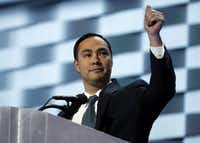 Rep. Joaquin Castro, D-Tex., gives his thumb up as he speaks during the final day of the Democratic National Convention in Philadelphia, Thursday, July 28, 2016. (AP Photo/Carolyn Kaster)(AP)