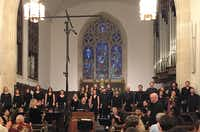 <br>(<p></p><p>Conductor Richard Sparks, at right, shares applause at a performance of the Bach St. John Passion by the UNT Collegium Singers and Baroque Orchestra, at Episcopal Church of the Incarnation in Dallas, on April 1, 2017. (Scott Cantrell/Special Contributor)</p><p></p>)