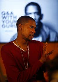Young Guru speaks during a Q&A with staffers at The Marketing Arm in Dallas. Young Guru, a veteran engineer, DJ and producer who has helmed albums by Jay Z, Beyonce, Fabolous, Alicia Keys and T.I., was hired as the firm's chief music strategist. (Rose Baca/The Dallas Morning News)