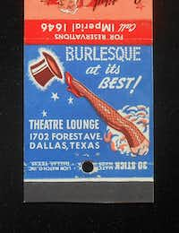 A matchbook from more than 60 years ago when Kantor owned a Dallas burlesque club.