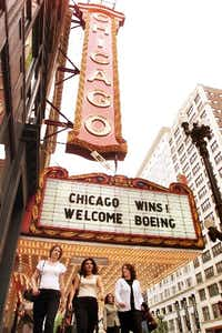 Passing over runners-up Dallas-Fort Worth and Denver, Boeing's selection of Chicago for its corporate office drew a marquee welcome in the Windy City in 2001. (AP File)