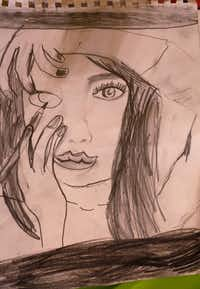 One of Alexis Brown's pencil sketches, which she does when she's bored.((Ron Baselice/Staff Photographer))