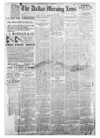 The front page of  the first issue of <i>The Dallas Morning News </i>on Oct. 1, 1885.