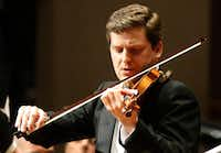 Solo violinist James Ehnes performs Aaron Jay Kernis' Violin Concerto with guest conductor Gustavo Gimeno as the Dallas Symphony Orchestra performs at the Meyerson Symphony Center on Thursday, April 6. (<p>(Ron Baselice/The Dallas Morning News)<br></p><p></p>)