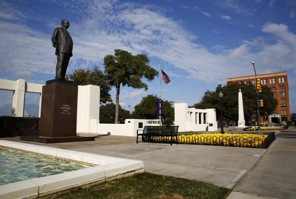 "<p><span style=""font-size: 1em; background-color: transparent;"">The statue of George Bannerman Dealey, who pioneered The Dallas Morning News, keeps watch over Dealey Plaza. The park was originally envisioned as a grand entrance to downtown Dallas. (Tom Fox/Staff Photographer)</span></p>Staff Photographer"