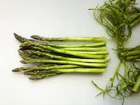 To prepare asparagus before poaching, trim off the woody ends and peel each spear about two-thirds of the way up. (Leslie Brenner/Staff)